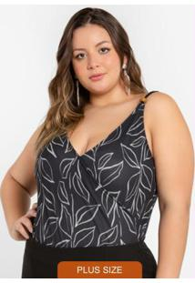 Body Plus Size Transpassado Preto