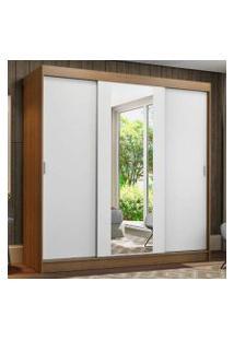 Guarda-Roupa Casal Madesa Reno 3 Portas De Correr Com Espelho Cor:Rustic/Branco