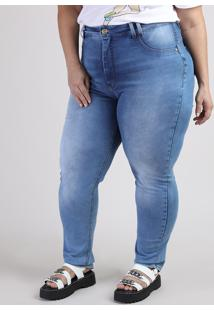 Calça Jeans Feminina Plus Size Sawary Cigarrete 360 Cintura Alta Azul Claro