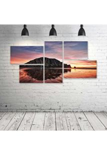 Quadro Decorativo - Sunset-Behind-Morro-Rock-In-Morro-Bay-Cataken-By-John-Willems. - Composto De 5 Quadros