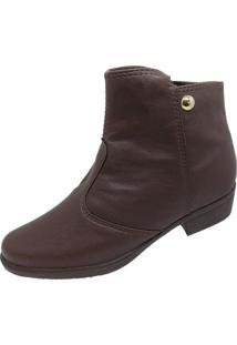 Bota Moda Pé Ankle Boots Café