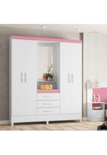 Guarda Roupa Capelinha Com Espelho 4 Portas E 3 Gavetas Persia Demobile Branco- Branco Rosa
