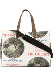 Golden Goose Bolsa Tote California Com Estampa De Slogan - Branco