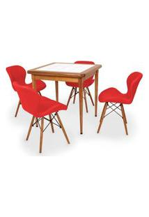 Conjunto Mesa De Jantar Em Madeira Imbuia Com Azulejo + 4 Cadeiras Slim - Vermelho