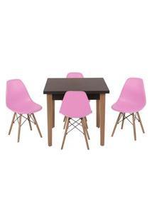 Conjunto Mesa De Jantar Luiza 80Cm Preta Com 4 Cadeiras Eames Eiffel - Rosa