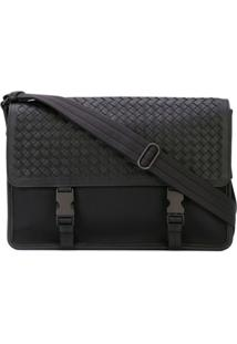 Bottega Veneta Intrecciato Weave Messenger Bag - Preto