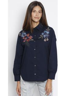 976e8ff0d ... Camisa Com Bordado- Azul Escuro & Azul Claro- Morenamorena Rosa