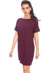 Vestido Moda Vicio Camiseta - Feminino-Vinho