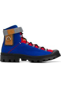 Loewe Ankle Boot Color-Block Com Cadarço - Azul