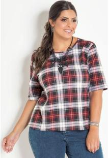 Blusa Com Amarração Frontal Xadrez Plus Size