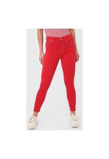 Calça Cropped Sarja Polo Ralph Lauren Skinny Pespontos Vermelha