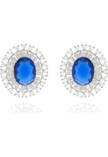 Brinco Levitha Semijoias Oval Azul Safira E Zircônias Cristais - Ródio Branco