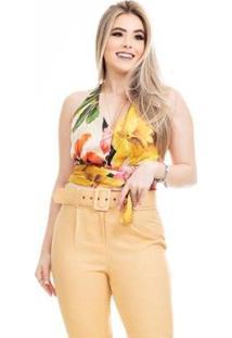 Blusa Clara Arruda Cintura Laço 20572 - Feminino-Bege+Dourado