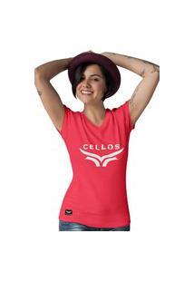Camiseta Feminina Gola V Cellos Up Premium W Vermelho