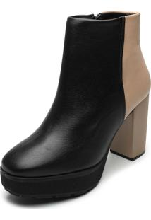 Bota Vizzano Color Block Preto/Bege