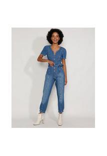 Macacão Jeans Feminino Com Zíper E Faixa Para Amarrar Manga Bufante Azul Médio
