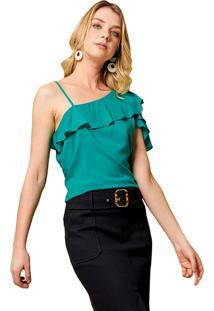 Blusa Mx Fashion Com Babados Kaire Verde