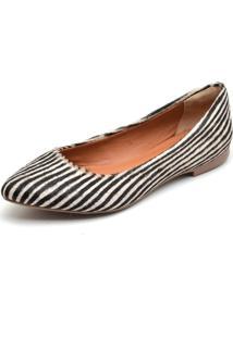 Sapatilha Casual Conforto Bico Fino Q&A 100 Zebra