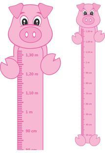 Adesivo Régua De Crescimento Porquinho Com Patas
