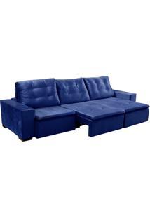 Sofá 3 Lugares Retrátil E Reclinável Lexus Veludo Azul