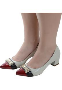 Scarpin Laura Prado Confort Bico Fino Marfim Vermelho