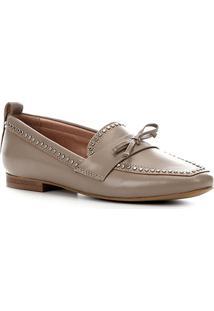 095e85e25 ... Mocassim Couro Shoestock Loafer Mini Tachas Feminino - Feminino-Cinza