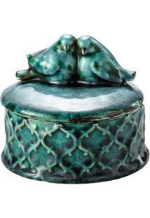 Porta Jóias Decorativo Bird Azul De Cerâmica 11X11X10,5 Cm
