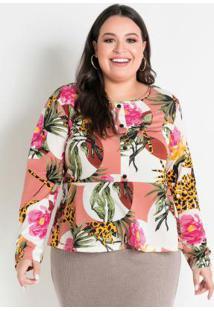 Blusa Floral Peplum Plus Size