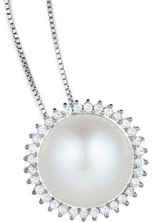 Pingente Ouro Branco Pérola E Diamantes
