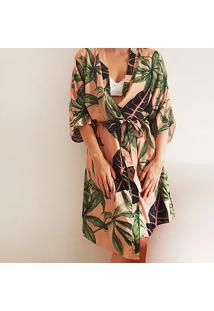 Robe Kimono Em Viscose Salmão/Verde M - Dica045 Dica De Lingerie