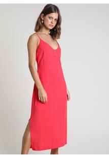 Vestido Feminino Midi Com Fendas Alça Fina Vermelho