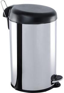 Lixeira Com Pedal- Inox & Preta- 45Xø27,5Cm- 12Lbrinox