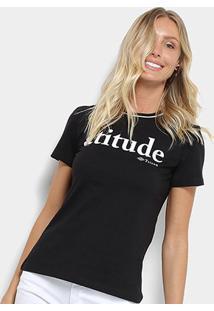 Camiseta Triton Estampa Atitude Feminina - Feminino-Preto