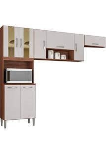 Cozinha Compacta 8 Portas Lavínia Capuccino/Off White - Poquema
