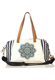 Bolsa Blue Bags Listrada Bordado Mandala Feminina - Feminino-Branco+Azul