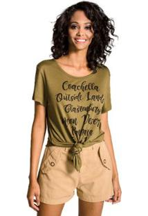 Maxi Camiseta Festivais Colcci - Feminino-Verde