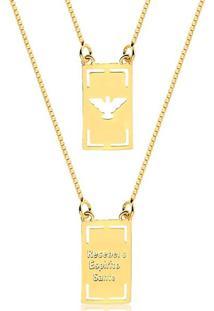 Colar Escapulário Recebei O Espírito Santo Folheado Em Ouro 18K - 3150000000822