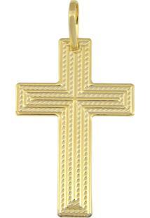 Pingente Prata Mil Cruz Reticulada Com Cruz Fina Centro Dourado - Kanui
