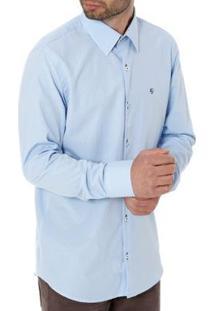 Camisa Enzo Vitorino Slim Manga Longa Masculina - Masculino-Azul