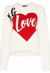 Dolce & Gabbana Suéter D&G Is Love De Cashmere Misto - Branco