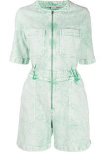 Stella Mccartney Jaqueta Jeans Com Lavagem - Verde