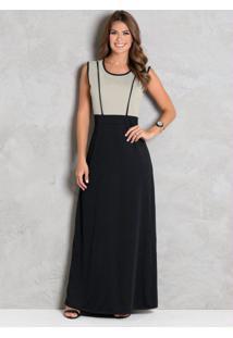 Vestido Longo Preto E Bege Moda Evangélica
