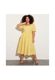 Vestido Midi Plus Size Manga Bufante Mindset Amarelo