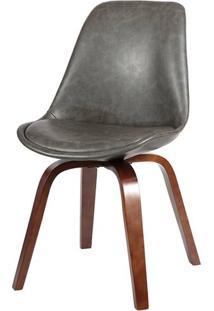 Cadeira Lis Eames Revestida Pu Cinza Base Madeira - 37769 - Sun House