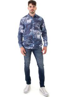 Camisa Opera Rock Linho Tropical Leaves Azul-Marinho
