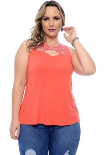 Blusa Arimath Regata Plus Size Coral Renda Vazada
