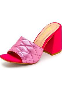 Sandália Tamanco Salto Alto Retro Feminina Confort Rosa Metalizado - Kanui