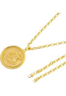 Pingente São Jorge + Corrente Modelo Francesa Tudo Jóias Folheada A Ouro 18K Dourada