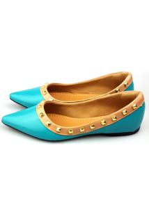 Sapatilha Love Shoes Bico Fino Valentino Spike Turquesa
