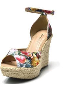Sandália Anabela Salto Alto Confort Tecido Floral Rosa - Kanui